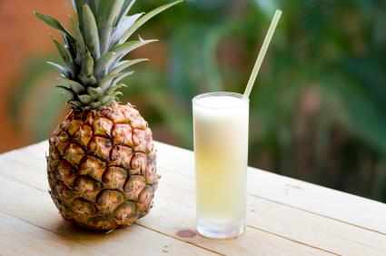 Coconut rum and pineapple juice in a glass