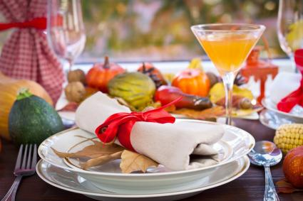 Thanksgiving Place Setting with a Frangelico martini