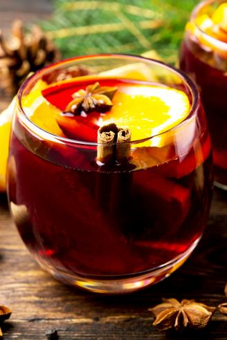 Two glasses with hot mulled wine