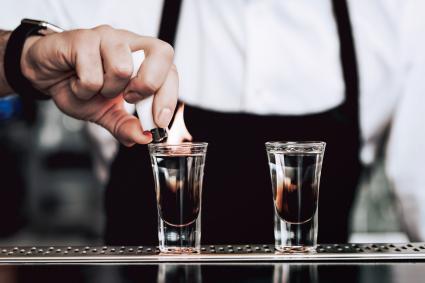 Barman preparing a shot