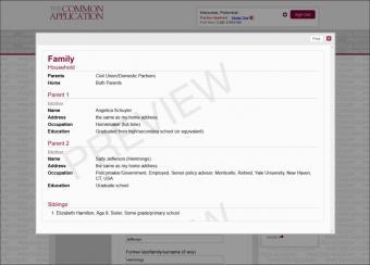 Screenshot of sample Common App