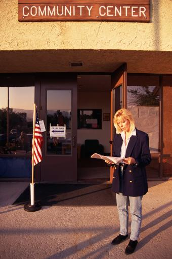 Woman in front of community center