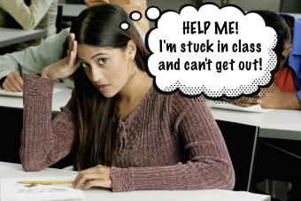 young woman sitting in a class looking frustrated