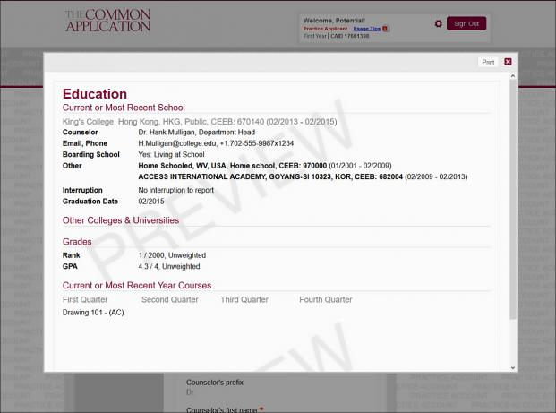 education information screenshot
