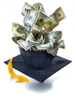 Money and a college graduation cap