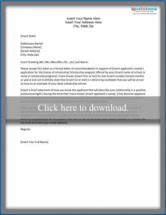Sample Scholarship Recommendation Letter | LoveToKnow