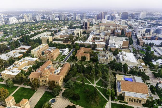 Aerial view of campus of University of California in Los Angeles