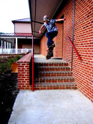 A skateboarder jumping