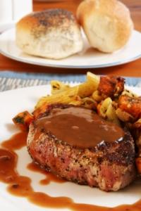 Country brown sauce/gravy over veal
