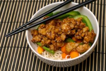 Sesame chicken is delightful over rice or noodles.