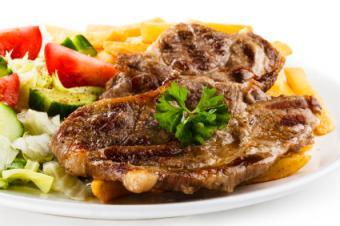 Steak with parsley sprig