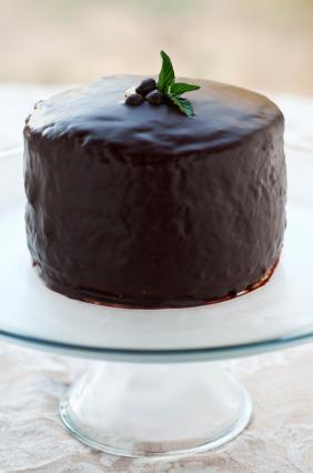 Cake covered in ganache