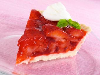 Slice of fresh strawberry pie
