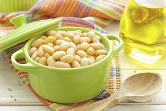 Lima beans in a casserole dish