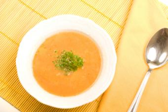 Golden kholrabi soup