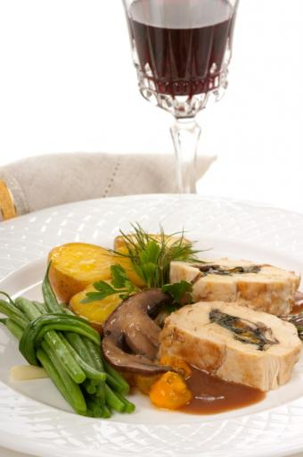 Chicken stuffed with mushrooms and kale