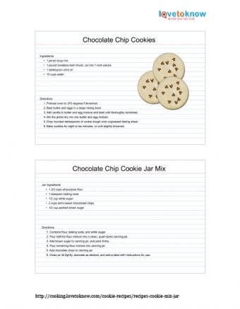 Printable chocolate chip cookies in a jar recipe