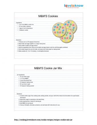 Printable M&M's cookies in a jar recipe
