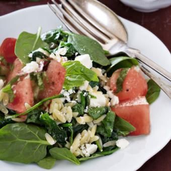 Watermelon and feta orzo summer salad