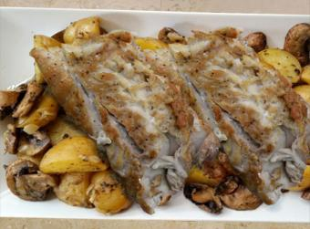 Bluefish with Apples, Mushrooms and Potatoes