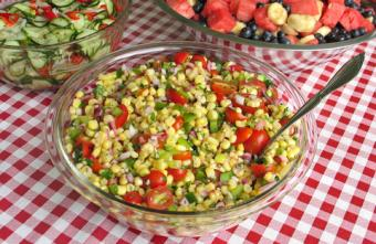 Image of sweet corn salad in a glass bowl