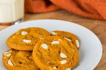 Soft white chocolate pumpkin cookies