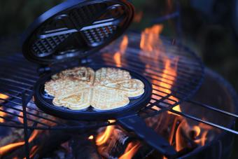 Waffles over campfire