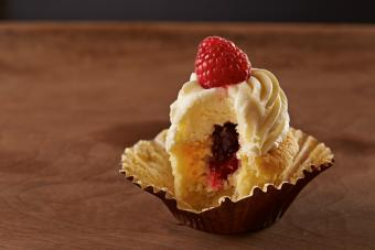 Raspberry filled cupcake