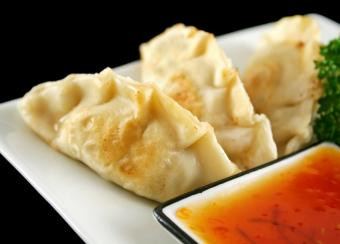 Pork dumplings and sauce