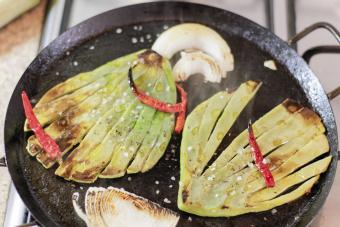 Green nopals in pan