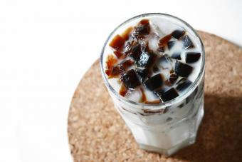 Coffee jelly cubes in milk