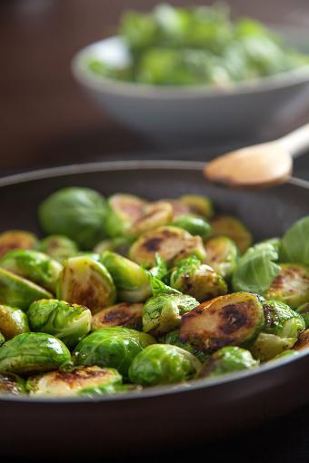Seared balsamic Brussels sprouts