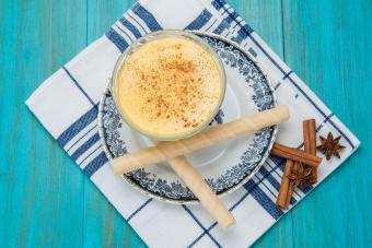 Custard dessert in a glass cup