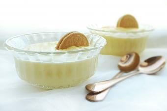 baked custard in glass bowls