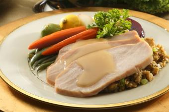 Turkey with gravy Thanksgiving meal