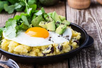 Mexican Oats with black beans, avocado, fried egg