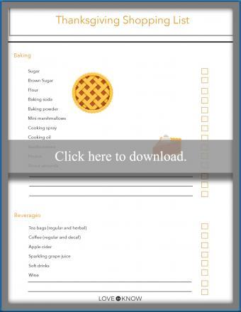 Thanksgiving shopping list printable editable