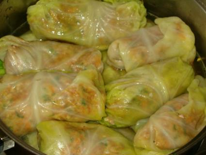 Cabbage rolls cooking in a pot