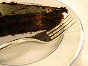 A slice of rich chocolate cake.