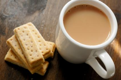 almond brown sugar shortbread and tea
