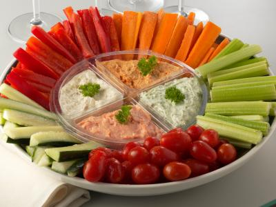 Veggies and dip are great.