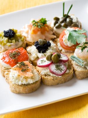 assortment of canapés