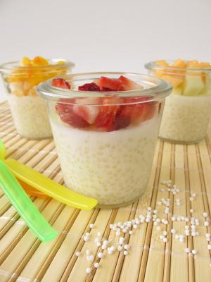 tapioca pudding topped with fruit
