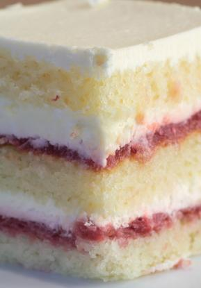 cake with cream and fruit filling