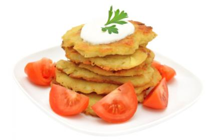potato fritters with tomatoes