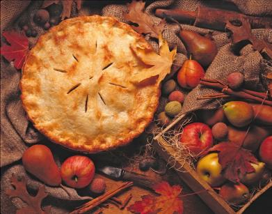 Apple pie in autumn setting
