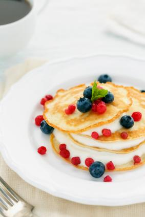 Crepes with lemon cream sauce and berries