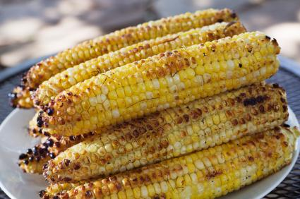 Platter of broiled corn on the cob