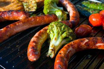 Broccoli and brats on the grill