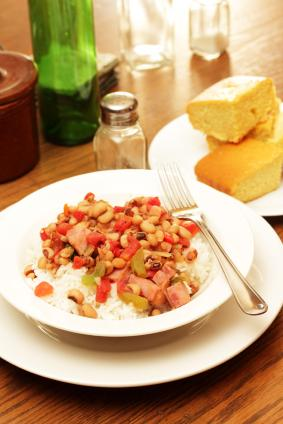 ham and black-eyed peas over rice